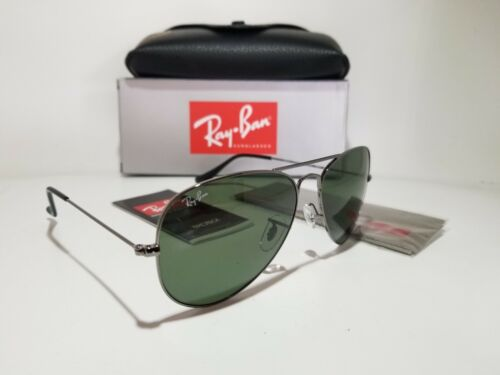 Ray Ban RB3025 W0879 Gunmetal Grey-Green RayBan Aviator Sunglasses 58mm
