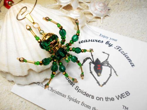 TreasuresbyTiziana® Swarovski Emerald Green May Birthstone Spider Pendant Charm