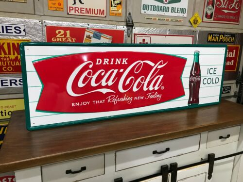 """COCA COLA FISHTAIL"" LARGE, EMBOSSED METAL ADVERTISING SIGN (54""x 18"") NEAR MINT"