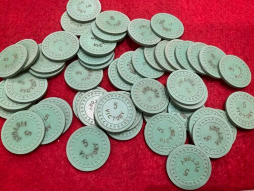 49 GREEN VICTORY CLUB CASINO ROULETTE CHIPS WITH RACK