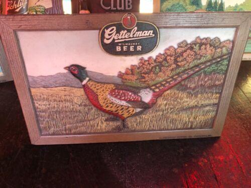 Vintage Gettelman Beer Composite Sign Pheasant