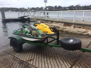 2 x KAWASAKI JET SKIS AND 4x4 TRAILER ALL REGO Miranda Sutherland Area Preview