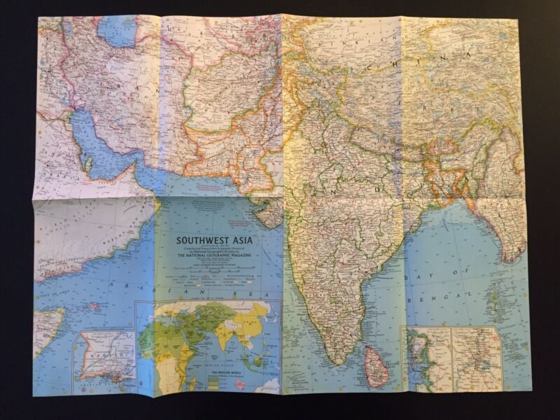 Vintage 1963 National Geographic Society Map of Southwest Asia
