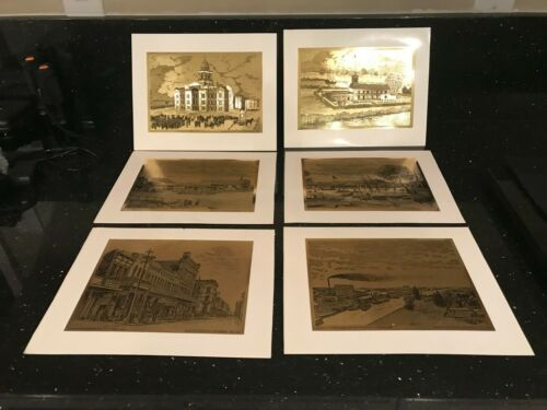 4 BANK OF STOCKTON CENTENNIAL GOLD FOIL ART 1967 + 2 OTHERS Stockton, California