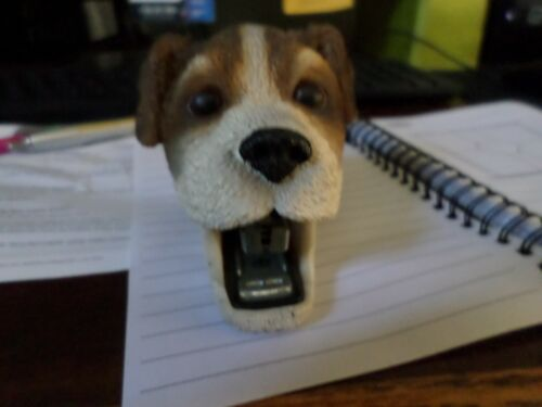 Vintage Ceramic Puppy Dog Head Stapler Small Brown Doggie