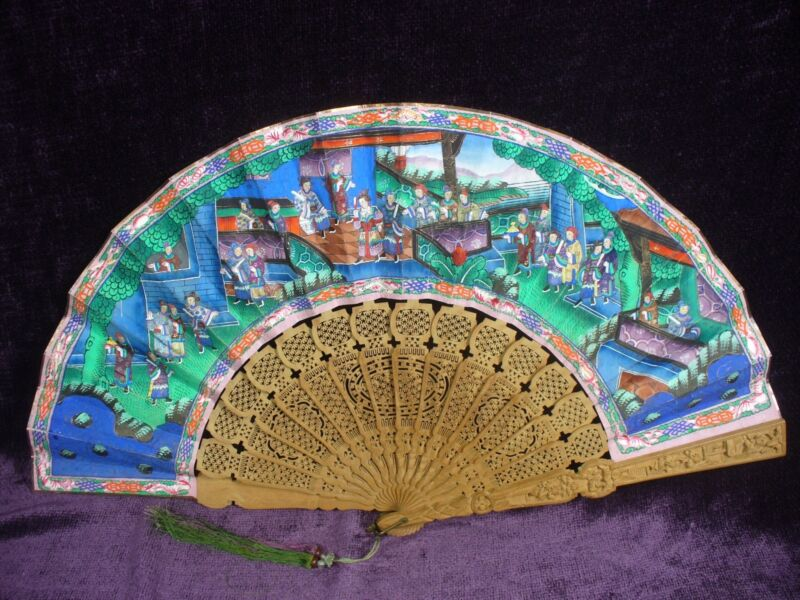 Antique Chinese carved sandalwood hand fan 11""