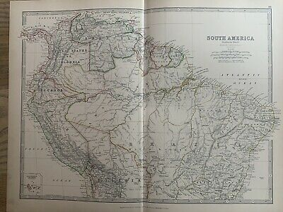 1886 SOUTH AMERICA (NORTH) ANTIQUE HAND COLOURED MAP BY JOHNSTON 134 YEARS OLD