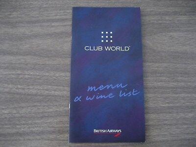 BRITISH AIRWAYS CLUB WORLD   MENU & WINE LIST