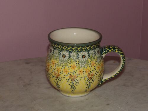 Polish Pottery 16 oz. Bubble Mug!   UNIKAT Signature Miss Daisy Pattern!