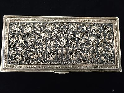 BEAUTIFUL PERSIAN ANTIQUE SILVER RECTANGULAR BOX 372G