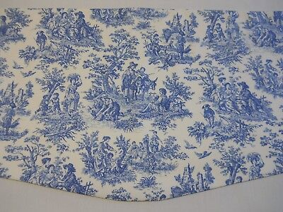 NEW~BLUE/IVORY~WAVERLY CHARMED LIFE CORNFLOWER TOILE Scalloped Valance (Toile Scalloped)