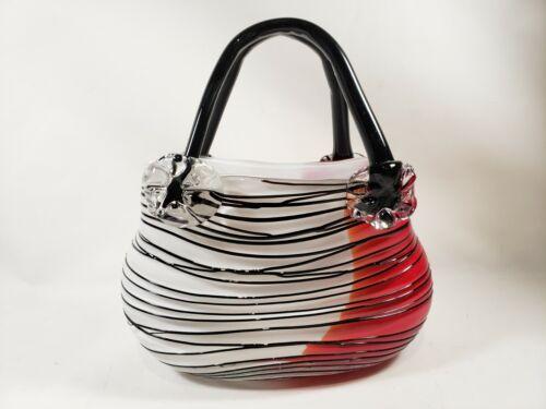 Murano Style Hand Blown Art Glass Purse Handbag Striped Black White Red