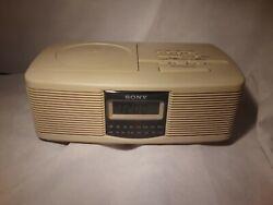 Sony Dream Machine ICF-CD810 AM/FM Stereo CD Clock RadioDual Alarm Beige Tested