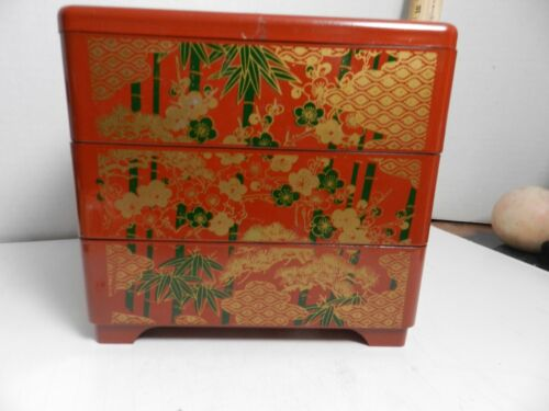 """GMM-bx VINTAGE JAPANESE PLASTIC LACQUER MIDCENTURYJUBAKO STACKING BOX 7"""" H"""