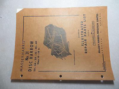 Massey Ferguson No. 31 Disc Harrow Repair Parts List