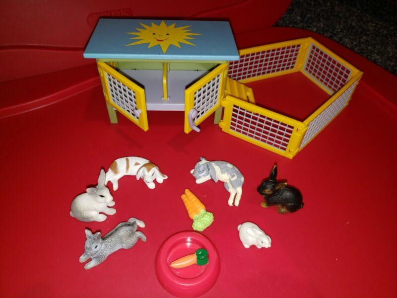 11 Piece Rabbit Hutch & Play Yard Schleich  Play Toy  Bunny Animals Lot 21