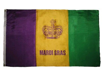 New Orleans Mardi Gras Crown Purple Gold Green Super Poly 3x5 Flag House Banner