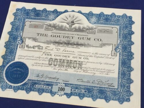 Stock Certificate THE GOUDEY GUM COMPANY 1921 - VF+ condition - Uncanceled 106 z