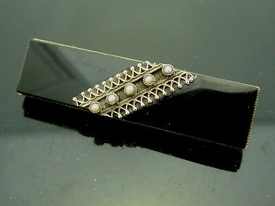 Onyx Seed Pearl - Antique Victorian Mourning Black Onyx Gemstone Seed Pearl Gold Filled Brooch Pin