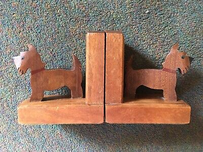 Pair Of Vintage Wood Scottie Terrier Dog Book Ends