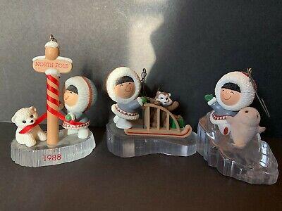 HALLMARK FROSTY FRIENDS ESKIMO CHRISTMAS XMAS HOLIDAY ORNAMENTS/ DECORATION 80's