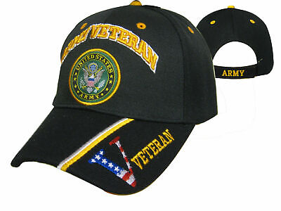 Official US Army Licensed Army Veteran & Emblem Black Cap Hat