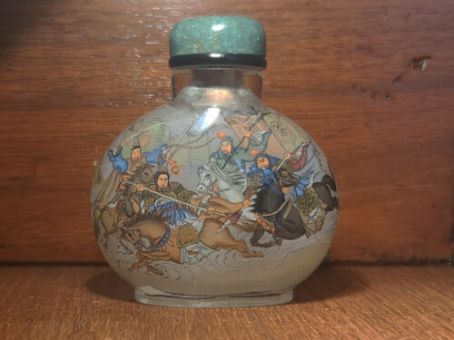 Inside painted snuff bottle - 3 Kingdoms - vintage