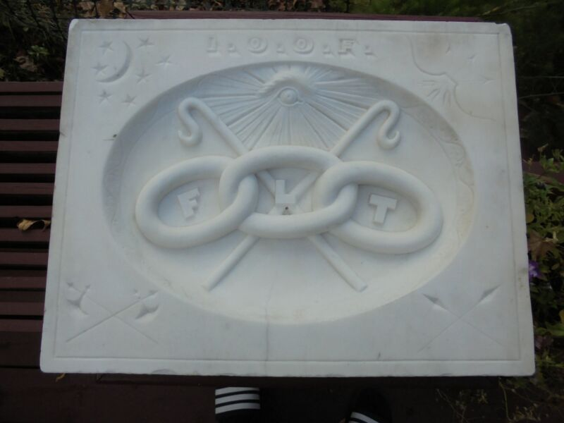 """Antique Carved Marble Stone IOOF Odd Fellows Building Element Cornerstone 20"""""""