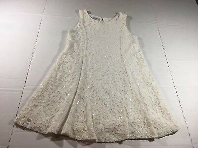 Mia Juliana Girls Size 5 White Lace Sleeveless Dress Sparkles Sequins Church