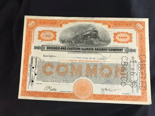 Vintage Chicago and Eastern Illinois Railway Company Certificate