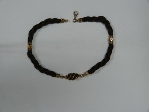 VICTORIAN 14K YELLOW GOLD WOVEN/BRAIDED HAIR MOURNING NECKLACE/CHOKER