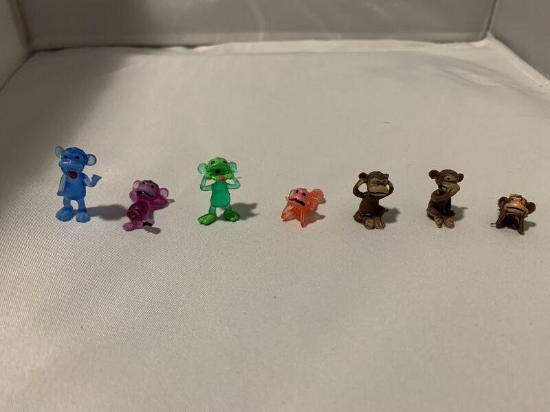"7 Miniature 1"" Monkey Figure  PVC Cute Collectible Animal Toy"