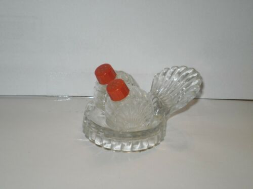 VINTAGE PERFUME GLASS  SALT N PEPPER SHAKERS 1960