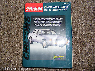 CHRYSLER FRONT WHEEL DRIVE 1981 TO 1992 CHILTONS REPAIR MANUAL USA MANUAL