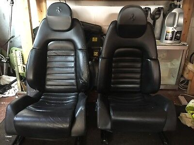 Two Genuine Ferrari 360 Modena Black Electric Leather Seats