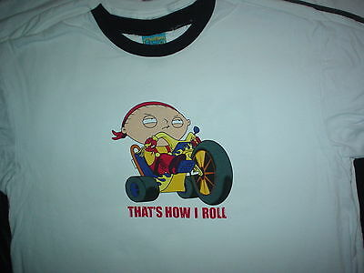 FAMILY GUY Stewie That's How I Roll On Bike Fox Cartoon Tv Show Large L T SHIRT