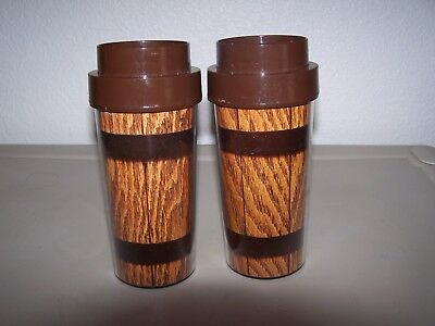 2 Matching Thermo-Serv #4 Insulated Wood Design Travel Coffee Mugs Tumblers