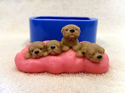 """""""Puppies on a pillow"""" dog silicone mold for soap and candles making mould mold"""