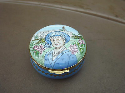2000 Queen Mother centenary enamel box with silver rose pendant inside Limited