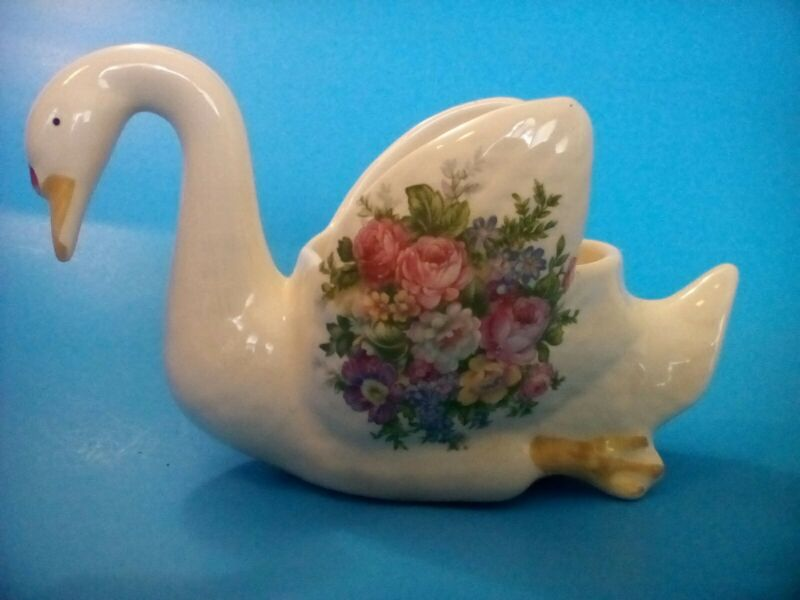 "Vintage SWAN PLANTER 5"" Tall Figurine Flowers Florals - Made in USA"