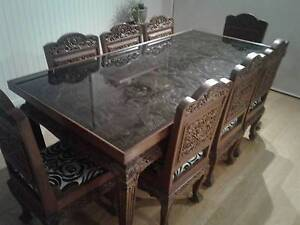 Hand crafted in Thailand Solid Teak 8 piece dining table & Chairs Highton Geelong City Preview