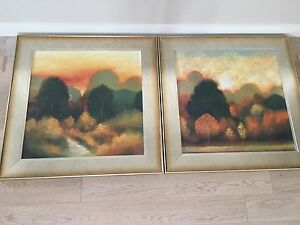 A set of two paintings with landscapes
