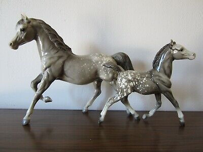 Vintage Breyer Running Mare & Foal - Glossy Dappled Grey Appaloosa Arabian Arab