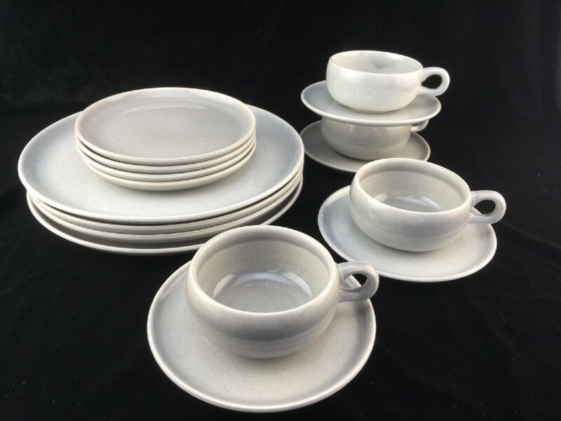 Russel Wright American Modern Grey Four 4-Piece Place Settings