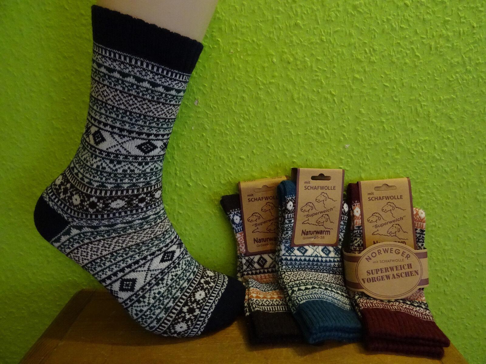 3 P. Damen Herren Norweger Socken Wolle Baumwolle flauschig weich Gr 35 - 46 neu