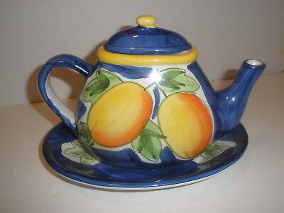 Vintage Ceramic Flat Oval Teapot Shallow Bowl Royal Blue Yellow Orange Fruit