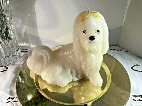 "Lhasa Apso Dog Shaped Waxed Candle "" 8 1/2"" long 8"" tall Off White"