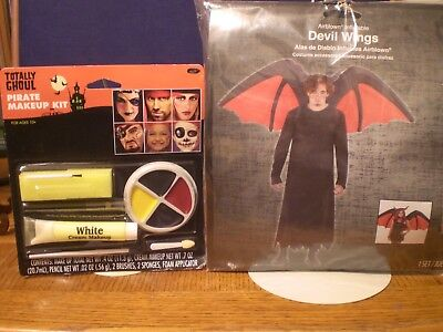 ADULT SIZED HALLOWEEN COSTUME DEVEL WINGS RED AND BLACK BLOW UP WITH MAKEUP KIT - Halloween Costume And Makeup