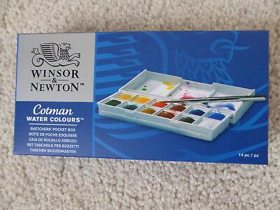 WINSOR & NEWTON COTMAN SKETCHERS POCKET BOX 12 HALF PANS WATERCOLOUR SET 0390640