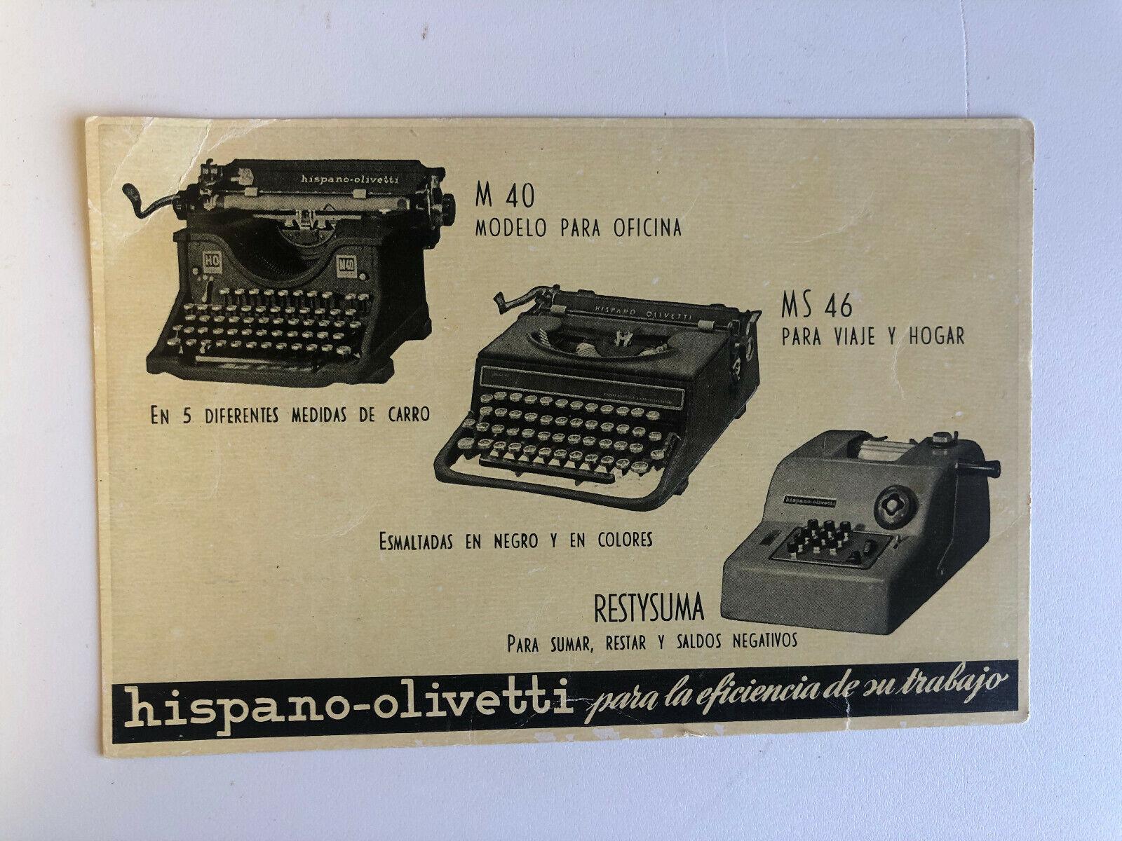 Cartolina Pubblicitaria Spagna Macchine da scrivere hispano-olivetti lucida c14